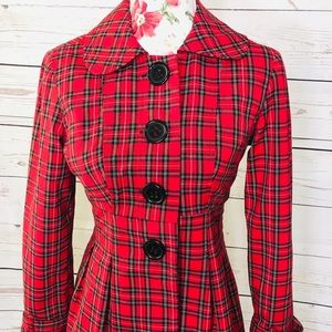 Vintage feel sele' small red&black plaid coat